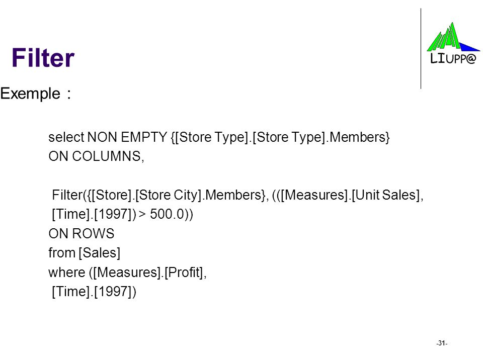 Filter Exemple : select NON EMPTY {[Store Type].[Store Type].Members}